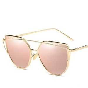 Large gold and pink cat eye sunglasses